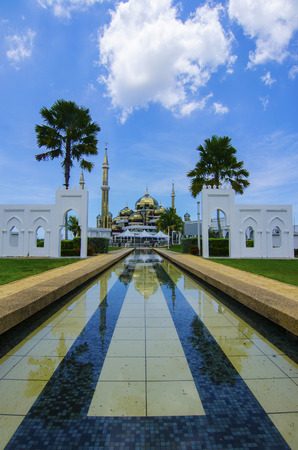islamic wonderful: Crystal Mosque in Kuala Terengganu, Terengganu, Malaysia with blue sky backgroud