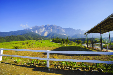kinabalu: View of Majestic Mount Kinabalu with beautiful blue sky at background