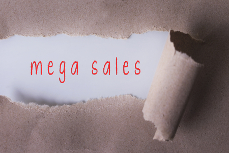 money matters: torn paper with mega sales word. Copyspace area.