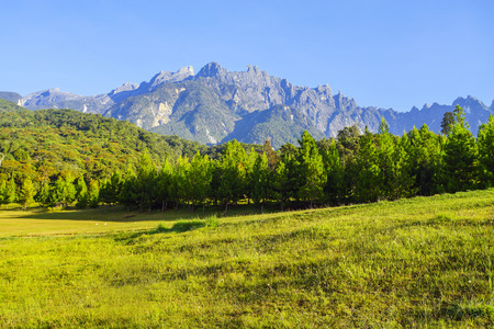 Mount Kinabalu during blue sky.