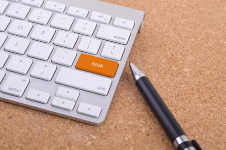 apprenticeship employee: Business concept: computer keyboard  with RISK word on enter button background, 3d render and copyspace area