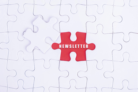 personality development: Missing white puzzle with NEWSLETTER word and copyspace area