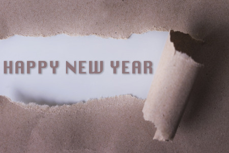 money matters: torn paper with HAPPY NEW YEAR word. Copyspace area.