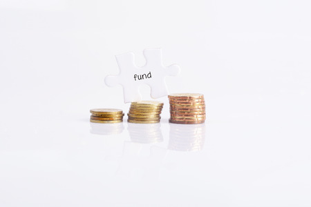 white fund: White missing puzzle and gold coins with fund word