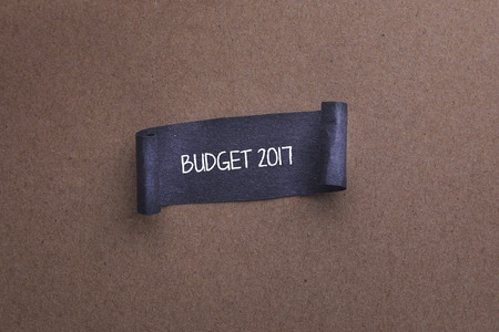 money matters: Black papper with BUDGET 2017 word on wooden background