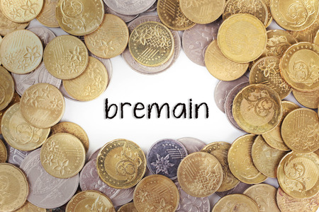 scepticism: Background of the gold coin with word bremain in the middle
