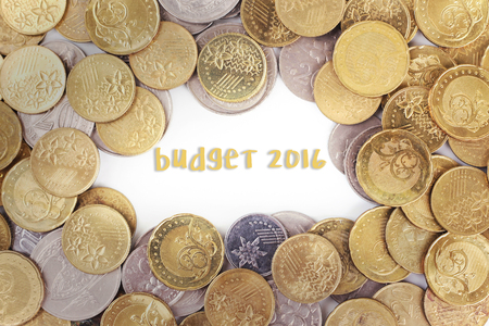 priceless: Background of the gold coin with word budget 2016 in the middle