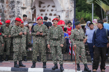 BANDA HILIR, MALACCA - AUGUST 31: Malaysian Army watching out for illegal activity in A Famosa, Banda hilir during Independence Day celebration on August 31,2016.