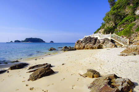 Landscape of beautiful tropical beach at Kapas Island, Malaysia