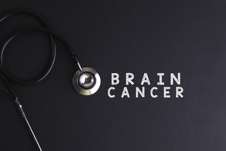 brain cancer: BRAIN CANCER word with stethoscope Stock Photo