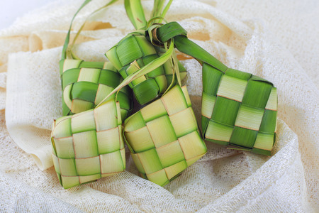 Ketupat (rice dumpling on white background)