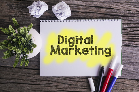 digital marketing: Digital marketing.  Notes about digital marketing,concept Stock Photo