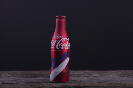 cola bottle: SHAH ALAM 26 AUGUST 2016. limited edittion uefa euro coca cola bottle 2016.coca cola is one top brand in Malaysia.