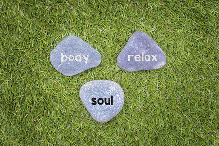 body and soul: Three stone with body soul relax  concept. Stock Photo
