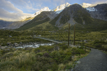 New Zealand scenic mountain landscape shot at Mount Cook National Park. Stock Photo