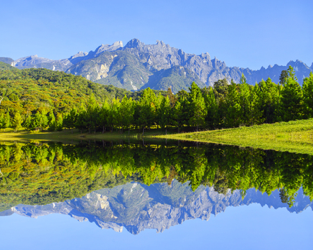 lows: Reflection of Mount Kinabalu during blue sky.