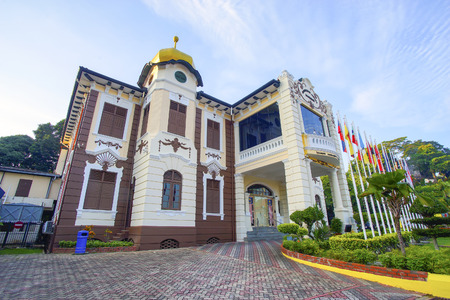arial view: MALACCA, MALAYSIA - June 30, 2016 : Independence Memorial building in Malacca. Malacca has been listed as a UNESCO World Heritage Site since 7 July 2008 Editorial