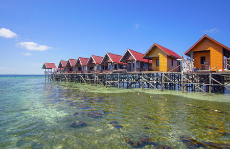 Rows of water chalet at Mabul Island, Sabah Malaysia. This island is situated next to Sipadan, a world famous scuba diving site.