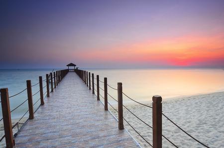 Sunrise view at fisherman jetty Jelutong, Penang Malaysia. Nature composition