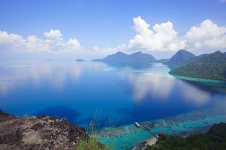 sipadan: Aerial view of tropical island of Bohey Dulang near Sipadan Island, Sabah Borneo, Malaysia