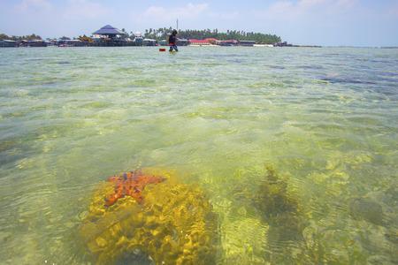 mabul: MABUL, MALAYSIA - May 12, 2015: Unidentified kids walking on the clear crystal sea water at Mabul island, Sabah Borneo