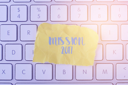 initiatives: MISSION 2017 card with information on the keyboard Stock Photo
