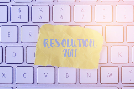 initiatives: RESOLUTION 2017 card with information on the keyboard
