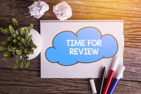 reassessment: TIME FOR REVIEW word with Notepad and green plant on wooden background Stock Photo