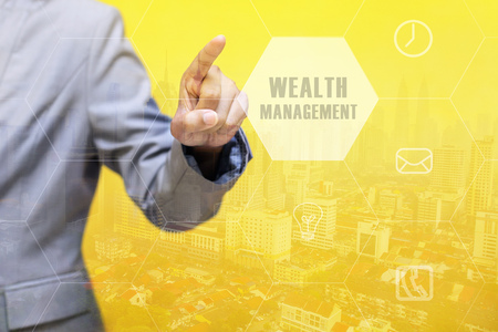 digital asset management: WEALTH MANAGEMENT word on touchscreen with futuristic concept Stock Photo