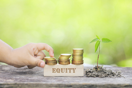 hedge: EQUITY WORD Golden coin stacked with wooden bar Stock Photo
