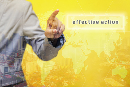 taking charge: Effective action word on touchscreen with futuristic concept Stock Photo