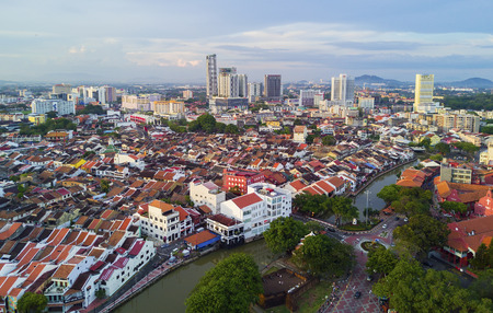 malaysia culture: MARCH 30, 2017: Arial View Historical part of the old Malaysian town in Malacca.