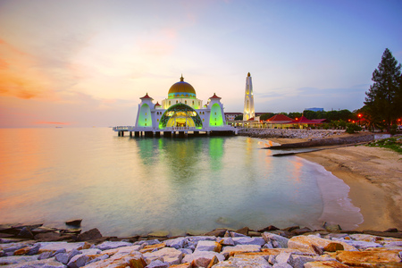 istanbul beach: Majestic view of Malacca Straits Mosque during sunset.