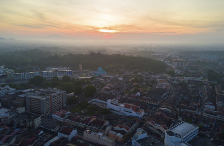 Arial view of Malacca city during sunrise Stock Photo