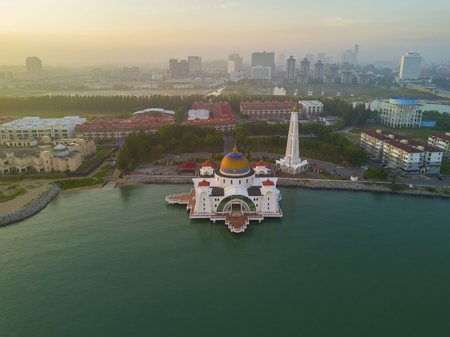 arial views: Arial view of Malacca Straits Mosque during sunset. Stock Photo