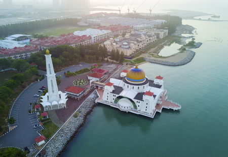 arial view: Arial view of Malacca Straits Mosque during sunset. Stock Photo
