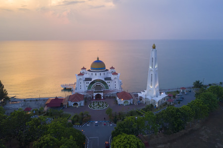 Arial view of Majestic Malacca Straits Mosque during sunset Stock Photo
