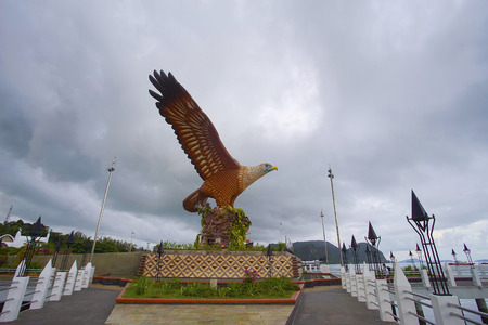 LANGKAWI, MALAYSIA - 15 JUNE 2017 - Beautiful sunset at Eagle Square, Dataran Lang is one of Langkawi�s best known man-made attractions, a large sculpture of an eagle poised to take flight.