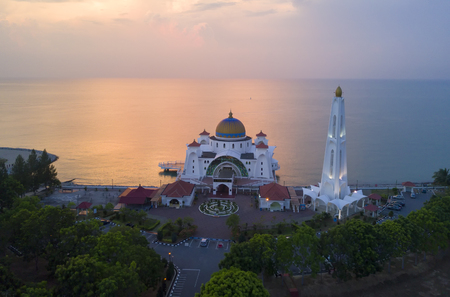 arial views: Arial view of Majestic Malacca Straits Mosque during sunset Stock Photo