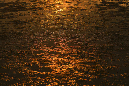 Mud texture on the beach with dramatic sunset backlighting