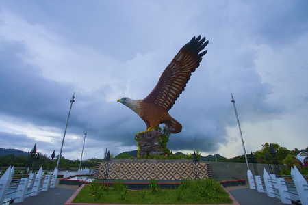 Beautiful sunset at Eagle Square, Dataran Lang is one of Langkawi's best known man-made attractions, a large sculpture of an eagle poised to take flight.