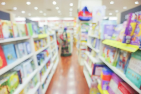 store shelf: BLUR IMAGE OF THE BOOKSTORE Stock Photo