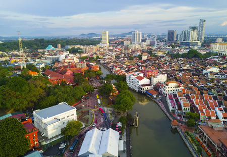 arial view: MALACCA, MALAYSIA - JAN 30, 2017 : Top view of beautiful Malacca town. Malacca has been listed as a UNESCO World Heritage Site since 7 July 2008. Editorial