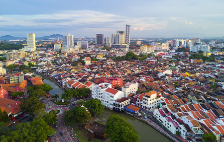 colonial church: MARCH 30, 2017: Arial View Historical part of the old Malaysian town in Malacca. It was listed as a UNESCO World Heritage Site together with George Town on 2008. Stock Photo