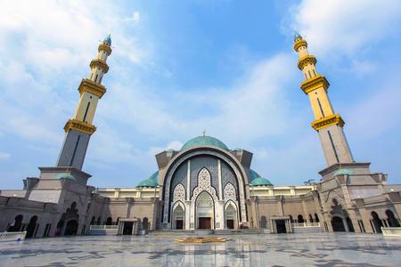 View of Masjid Wilayah Kuala Lumpur during blue sky