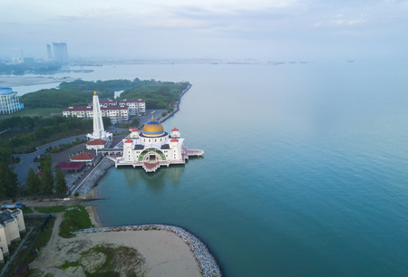 Arial view of Malacca Straits Mosque during sunset. Stock Photo