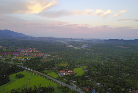 Aerial view of Mount Baling, with padding field view before sunrise