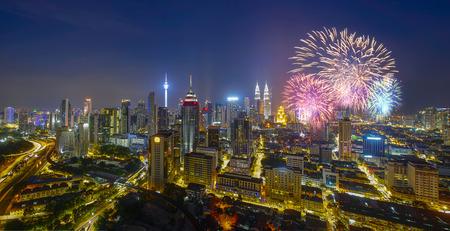 Firecracker over Kuala Lumpur city on new year countdown Stock Photo