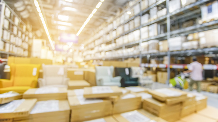 Blurred Background Image of goods Shelf in Warehouse or Storehouse