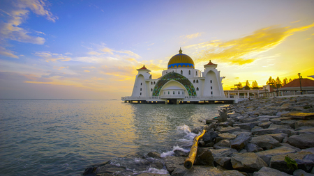 Panoramic view of colorful sunset surrounding Strait Mosque ,Malacca Historical City,Malaysia.